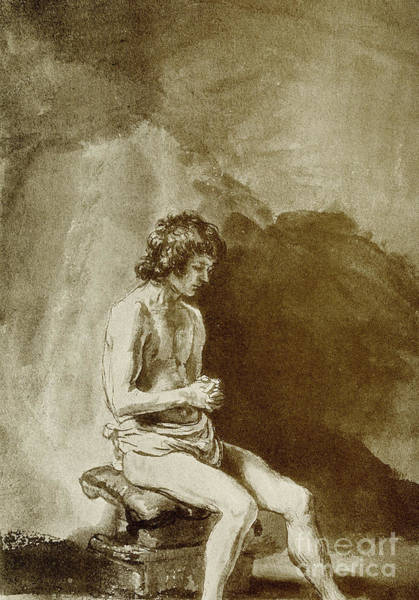 Male Nude Drawing - Male Nude by Rembrandt Harmensz van Rijn