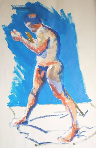 Painting - Male Nude Standing Holding Staff by Mike Jory