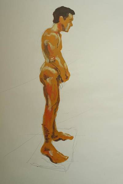 Painting - Male Nude Standing With Arms Crossed At Wrists by Mike Jory