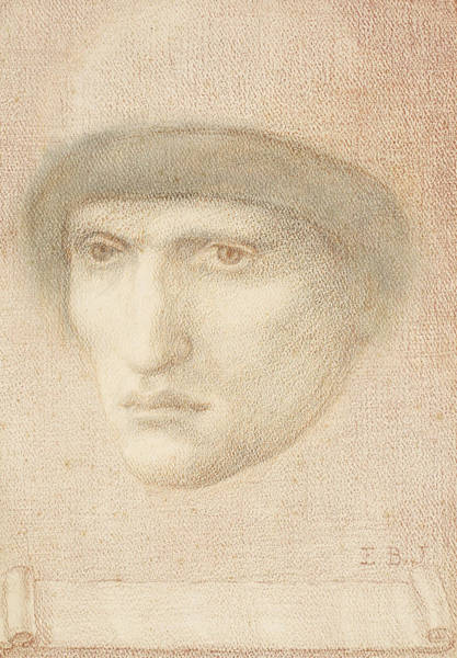 Drawing - Male Portrait  by Edward Burne-Jones