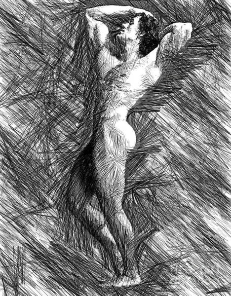 Digital Art - Male Pose Studio Drawing 1506 by Rafael Salazar