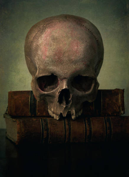 Photograph - Male Skull And Old Books by Jaroslaw Blaminsky