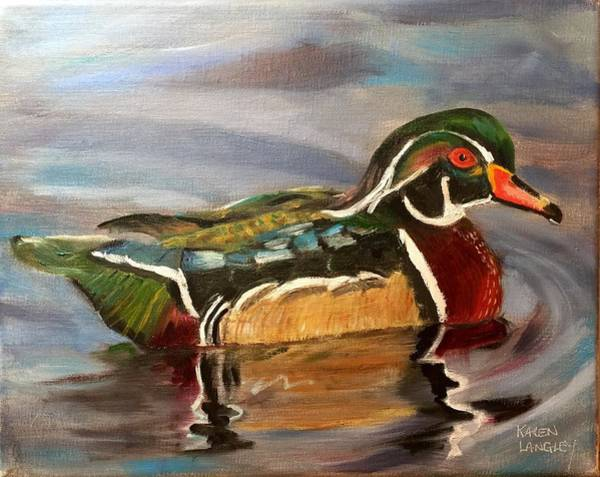 Wall Art - Painting - Male Wood Duck by Karen Langley