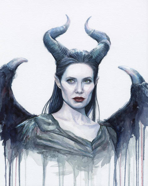 Wings Painting - Maleficent Watercolor Portrait by Olga Shvartsur