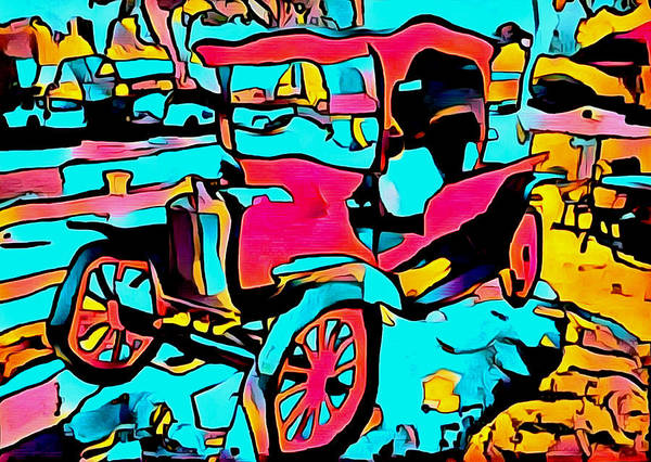 Photograph - Malibu Family Wine Antique Red Truck Abstract by Barbara Snyder