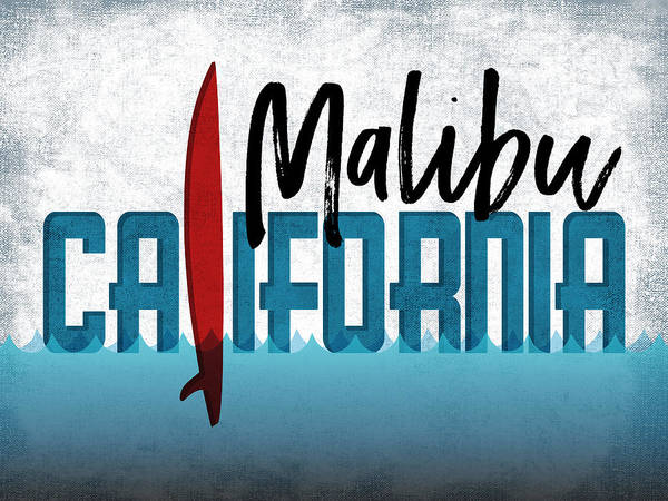 California Beaches Digital Art - Malibu Red Surfboard	 by Flo Karp