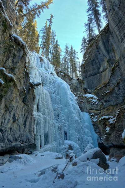 Photograph - Maligne Canyon Frozen Waterfall by Adam Jewell