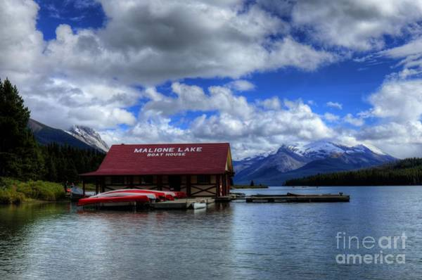 Photograph - Maligne Lake And Boat House Jasper National Park Alberta Canada by Wayne Moran