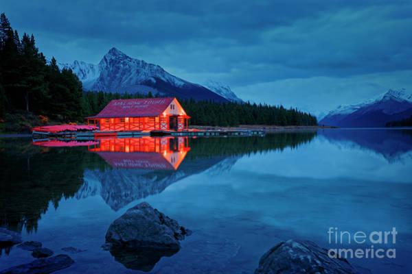 Photograph - Maligne Lake Boat House Before Dawn by Dan Jurak