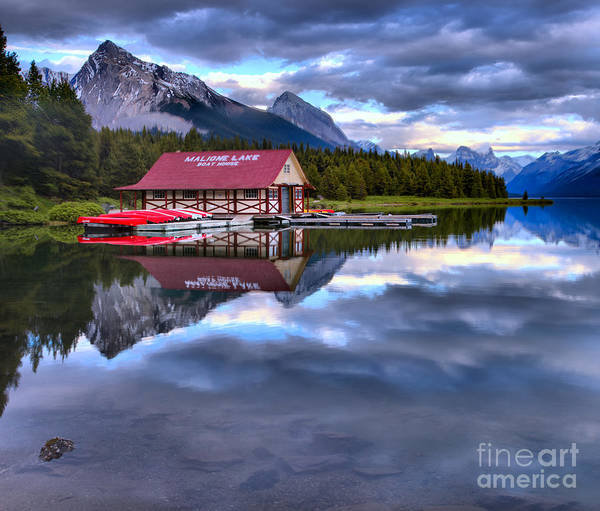Photograph - Maligne Lake Boathouse In A Sea Of Clouds by Adam Jewell