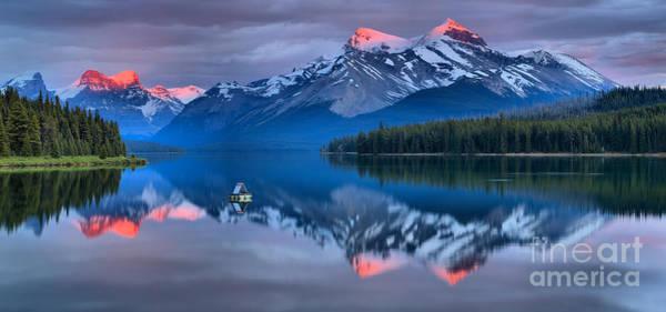 Photograph - Maligne Lake Pink Paradise by Adam Jewell