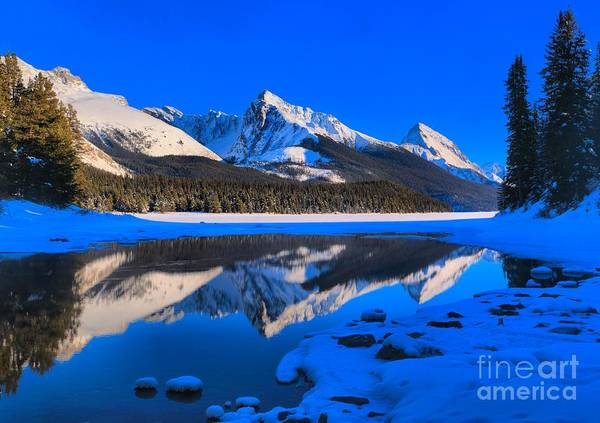 Montain Photograph - Maligne Lake Snow Cap Reflections by Adam Jewell