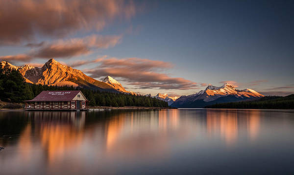 Photograph - Maligne Lake Sunrise by Pierre Leclerc Photography
