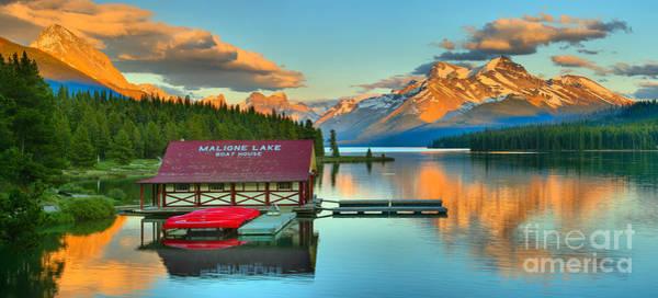 Photograph - Maligne Lake Sunset Glow Panorama by Adam Jewell