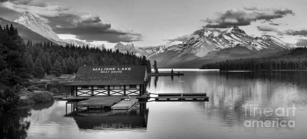Photograph - Maligne Lake Sunset Glow Panorama Black And White by Adam Jewell