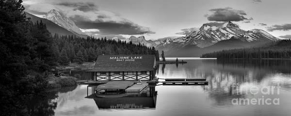 Photograph - Maligne Lake Sunset Panorama Black And White by Adam Jewell