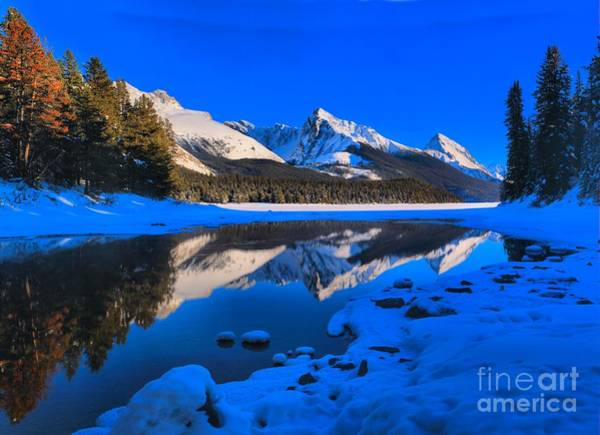 Montain Photograph - Maligne Lake Winter Afternoon by Adam Jewell