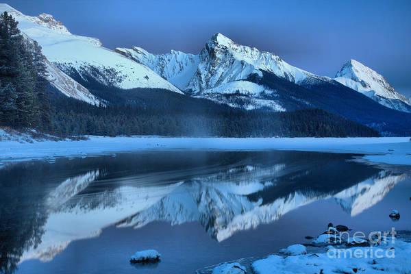 Photograph - Maligne Lake Winter Evening Reflections by Adam Jewell