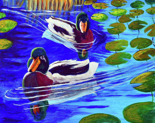 Lilly Pad Painting - Mallards In The Pads by Bob Crawford