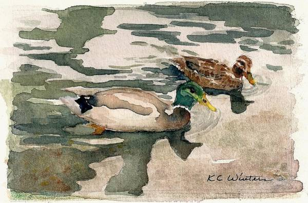 Water Foul Painting - Mallards by KC Winters