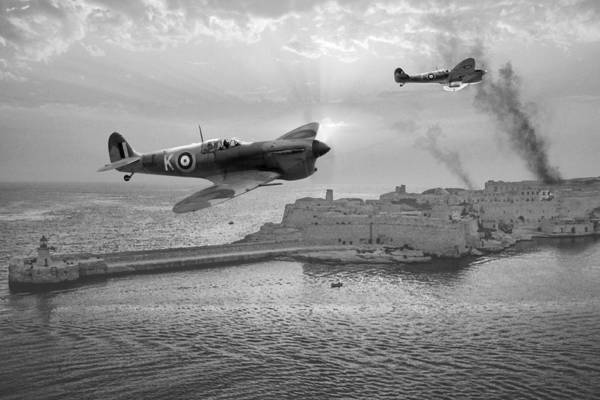 Royal Air Force Digital Art - Malta Bastion - Bw by Mark Donoghue