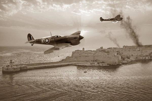Raf Digital Art - Malta Bastion - Sepia by Mark Donoghue