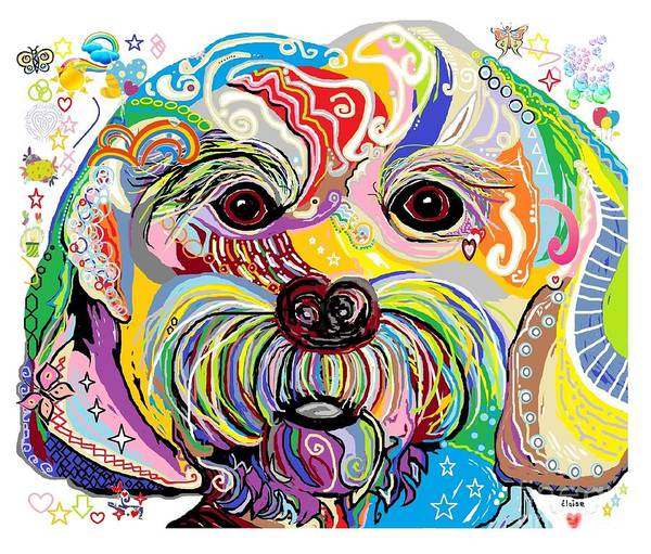 Pup Painting - Maltese Puppy by Eloise Schneider Mote