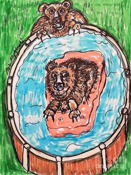 Swimming Pool Mixed Media - Mama Bear On Duty by Geraldine Myszenski