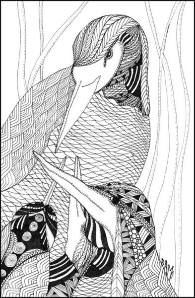 Mama Heron Art Print