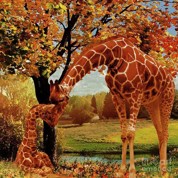 Mama Africa Wall Art - Painting - Mama Giraffe Feeding  by Gull G