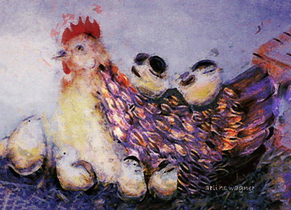 Wall Art - Digital Art - Mama Hen And Her Brood by Arline Wagner