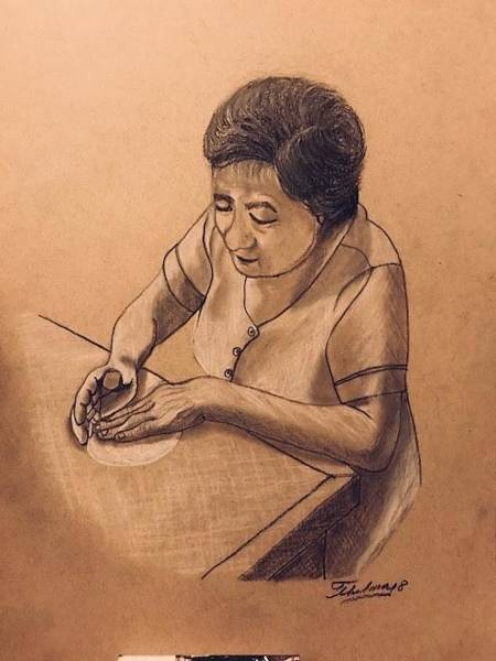 Drawing - Mama Lilia by Thelma Delgado