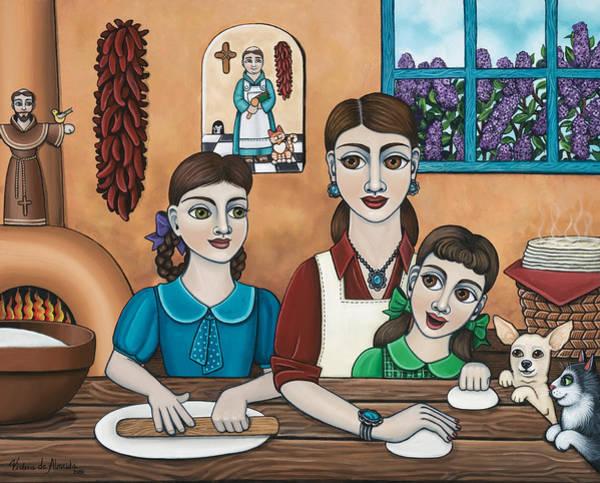 Hispanic Painting - Mamacitas Tortillas by Victoria De Almeida