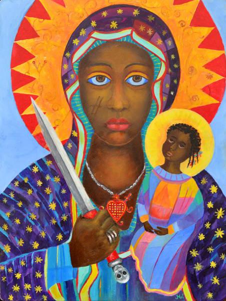 Voodoo Doll Painting - Mambo Mama Ezili Danto, Voodoo Goddess, Haiti New Orlean Black Madonna With Heart And Knife by Magdalena Walulik