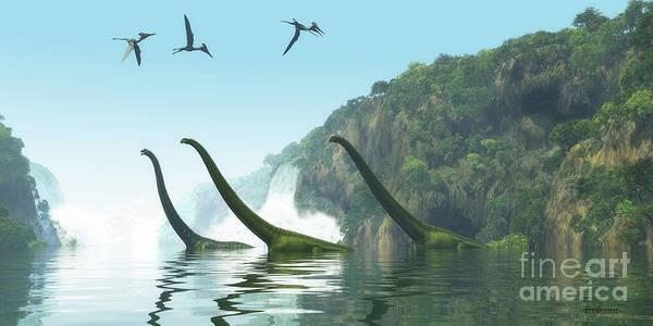 Primeval Painting - Mamenchisaurus Dinosaur Foggy Day by Corey Ford