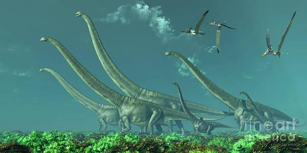 Primeval Painting - Mamenchisaurus Dinosaur Travels by Corey Ford