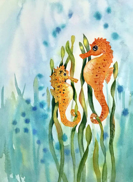 Painting - Mamma And Baby Seahorses by Hilda Vandergriff