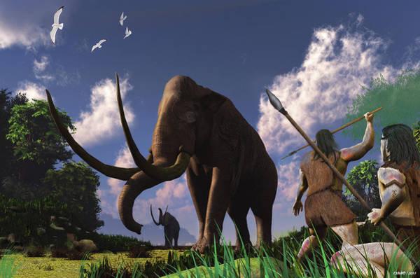Ken Morris Digital Art - Mammoth Hunters by Ken Morris