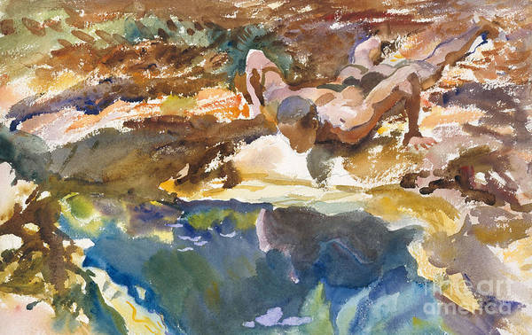 Naked Man Painting - Man And Pool, Florida, 1917 by John Singer Sargent
