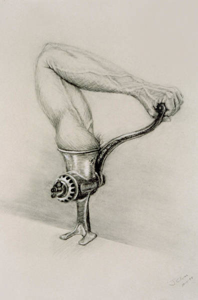 Drawing - Man And Technology by John Clum