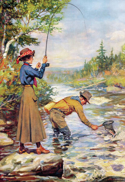 Upland Wall Art - Painting - Man And Woman By Stream by Philip R Goodwin