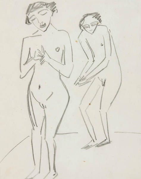 20th Century Man Drawing - Man And Woman by Ernst Ludwig Kirchner