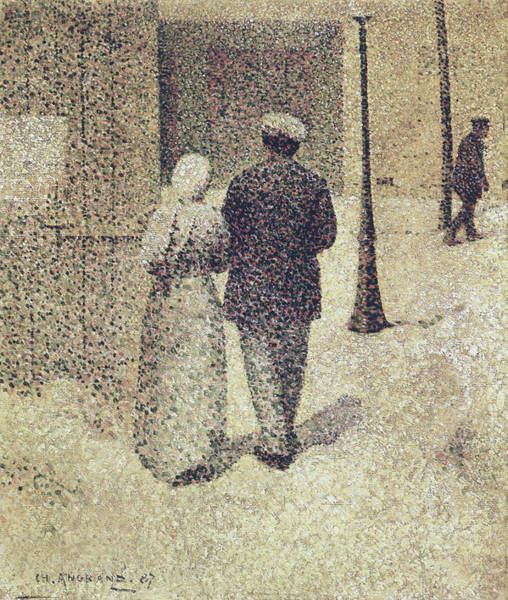 French Painter Wall Art - Painting - Man And Woman In The Street by Charles Angrand