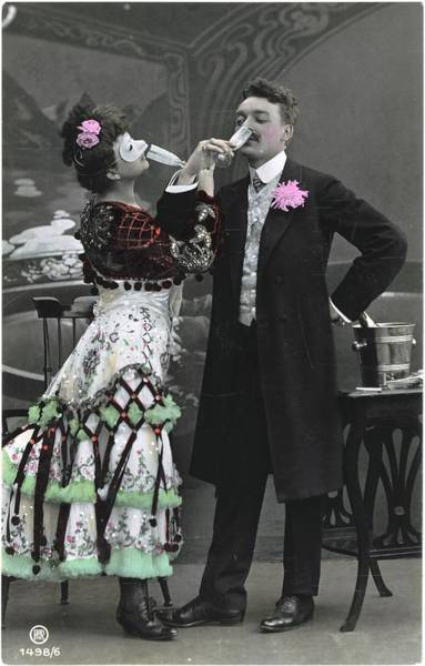 Wall Art - Photograph - Man And Woman In Vintage Party Clothes by Gillham Studios