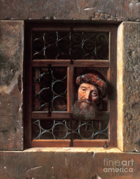 Leaded Glass Painting - Man At A Window by Samuel van Hoogstraten