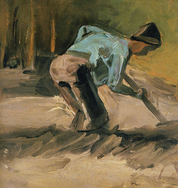 Spade Painting - Man At Work by Vincent Van Gogh