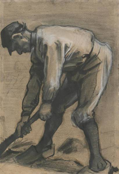 Ditch Painting - Man Breaking Up The Soil, 1883 by Vincent Van Gogh