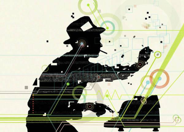 Smoking Drawing - Man Creating Music From Typewriter by Mark Allen Miller