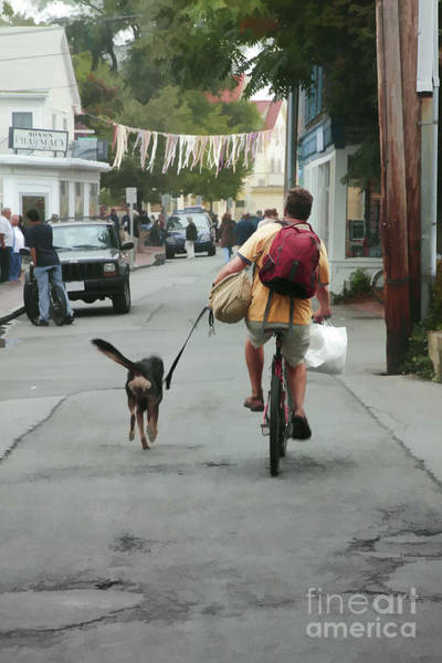 Digital Art - Man Cycling With Dog In Provincetown Massachusetts by William Kuta