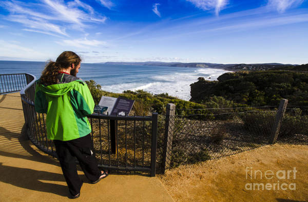 Photograph - Man Enjoying Scenic View Of Fairhaven Surf Beach by Jorgo Photography - Wall Art Gallery